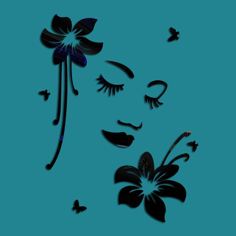 Flower And Girl Face Pattern 3D Acrylic TV And Sofa Background Wall Stickers