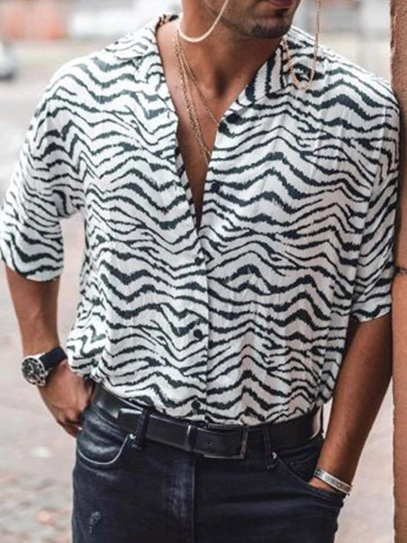 Ericdress Print Casual Zebra Stripe Men's Single-Breasted Shirt