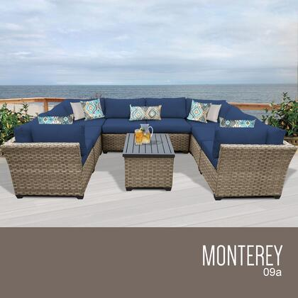 MONTEREY-09a-NAVY Monterey 9 Piece Outdoor Wicker Patio Furniture Set 09a with 2 Covers: Beige and