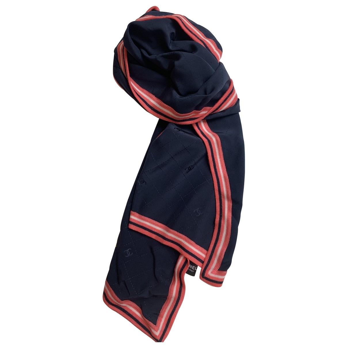 Chanel - Foulard   pour femme en soie - bleu