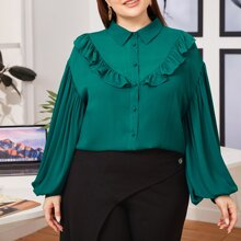 Plus Collared Lantern Sleeve Buttoned Front Ruffle Trim Blouse