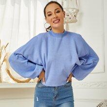 Pullover mit gekraeuseltem Saum und Fledermausaermeln