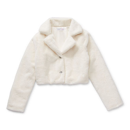 Knit Works Faux Fur Little & Big Girls Midweight Cropped Jacket, Large (14) , White