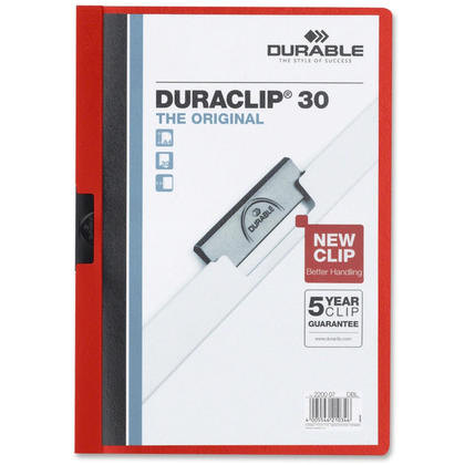 DURABLE Duraclip@ Report Cover, 1 cover per pack - 30-Sheet Capacity, Red 666644