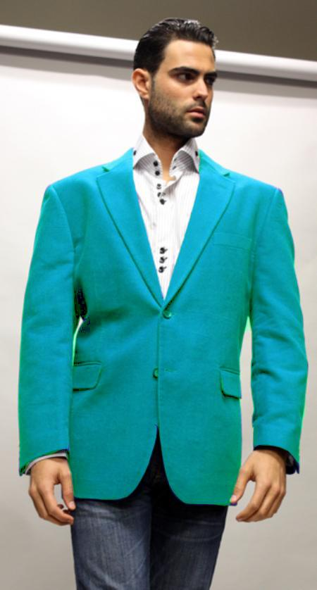 Turquoise Supers Velvet Fabric Sport Coat