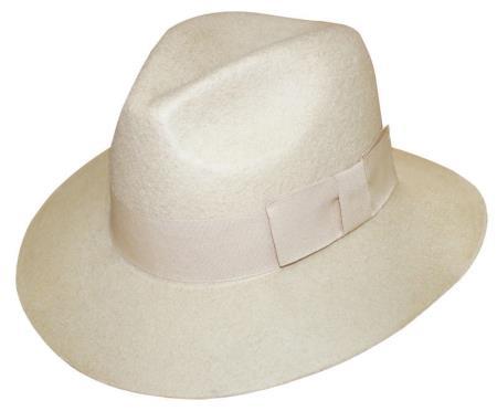 New Men's 1 Wool Fedora Trilby Mobster Hat Cream