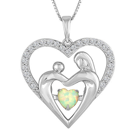 Love in Motion Lab-Created Opal & White Sapphire Sterling Silver Pendant, One Size , No Color Family