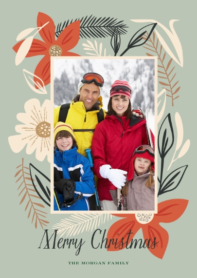Christmas Photo Cards 5x7 Folded Cards, Standard Cardstock 85lb, Card & Stationery -Holiday Florals