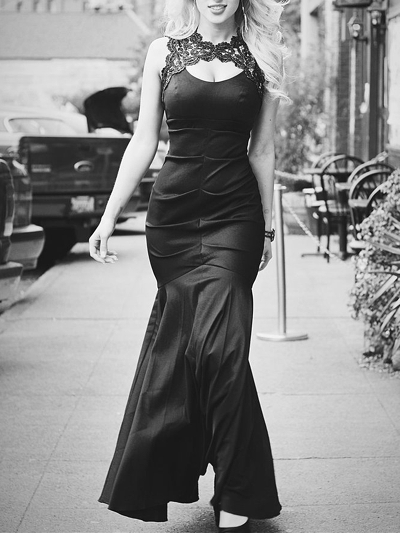 Ericdress Pleats Floor-Length Trumpet Sleeveless Evening Dress