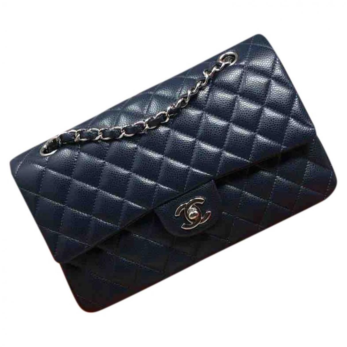 Chanel - Sac a main Timeless/Classique pour femme en cuir - bleu