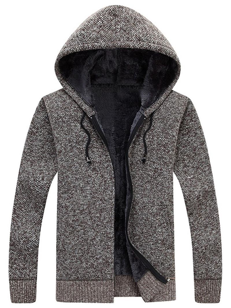 Ericdress Plain Hooded Standard Straight Mens Sweater