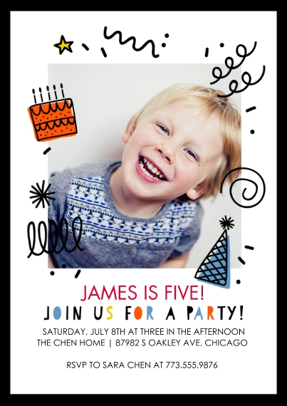 Birthday Party Invites Flat Glossy Photo Paper Cards with Envelopes, 5x7, Card & Stationery -Birthday Party Doodles Invitation