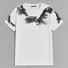 T-Shirt mit Adler Muster