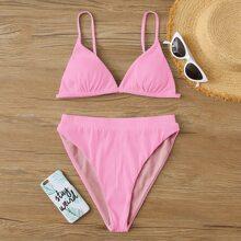Pink Schnuerung am Ruecken Einfarbig Suess Bikini Sets
