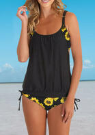 Sunflower Tie Ruffled Spaghetti Strap Tankini - Black