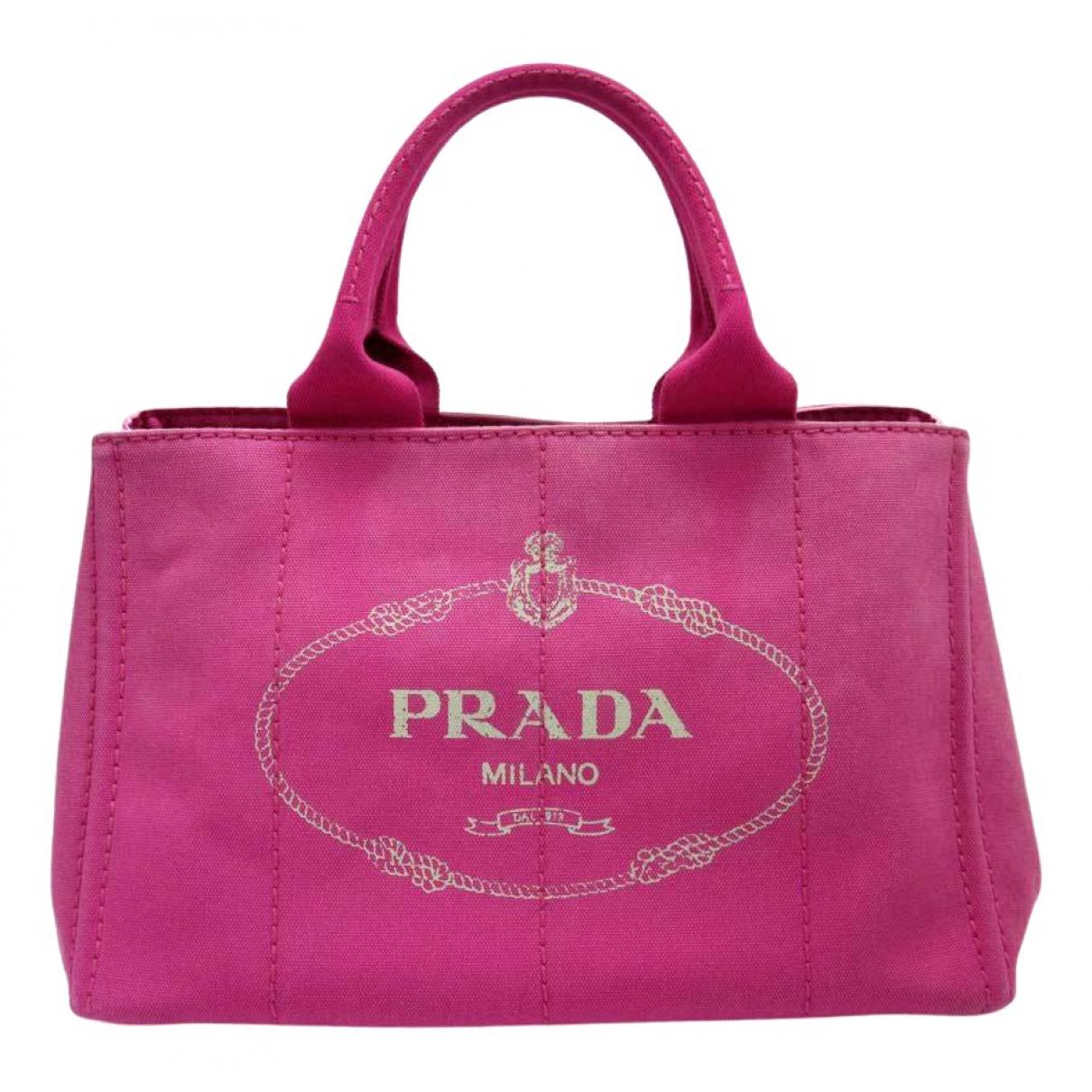 Prada - Sac a main   pour femme en toile - rose