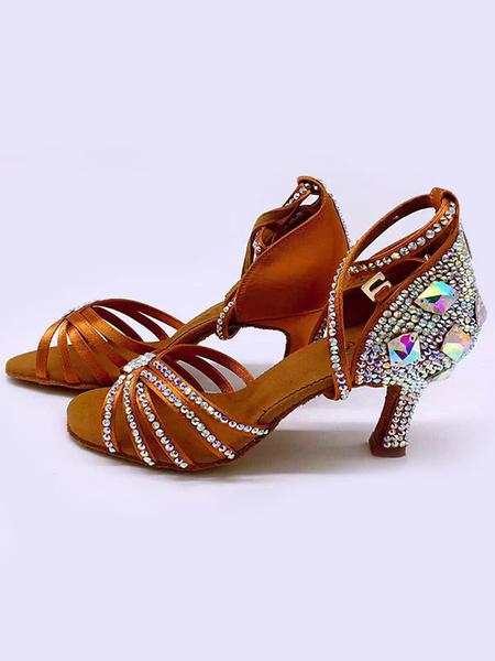 Milanoo Zapatos de baile latino Zapatos de baile de salon con diamantes de imitacion de punta abierta negros