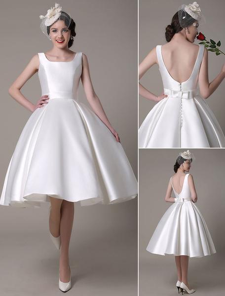 Milanoo Marfil vestido de novia 2020 con escote diseñado y lazo hasta la rodilla