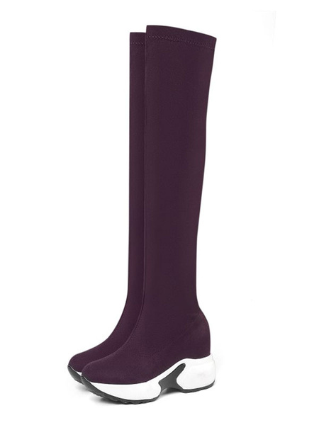 Milanoo Over The Knee Boots Womens Micro Suede Sneaker Style Round Toe Thick Soles Boots