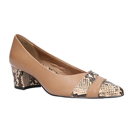 Easy Street Womens Elle Pumps Block Heel, 8 Medium, White