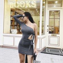 MeysiKim One Shoulder Knotted Bodycon Dress