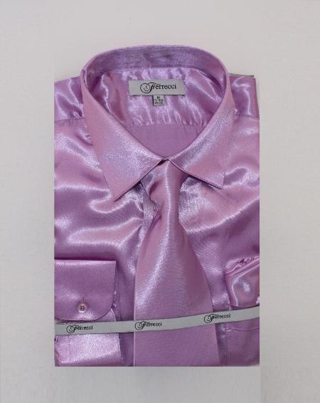 Mens Shiny Luxurious Shirt Lavender