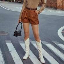 Kord Shorts mit schraegen Taschen und Guertel