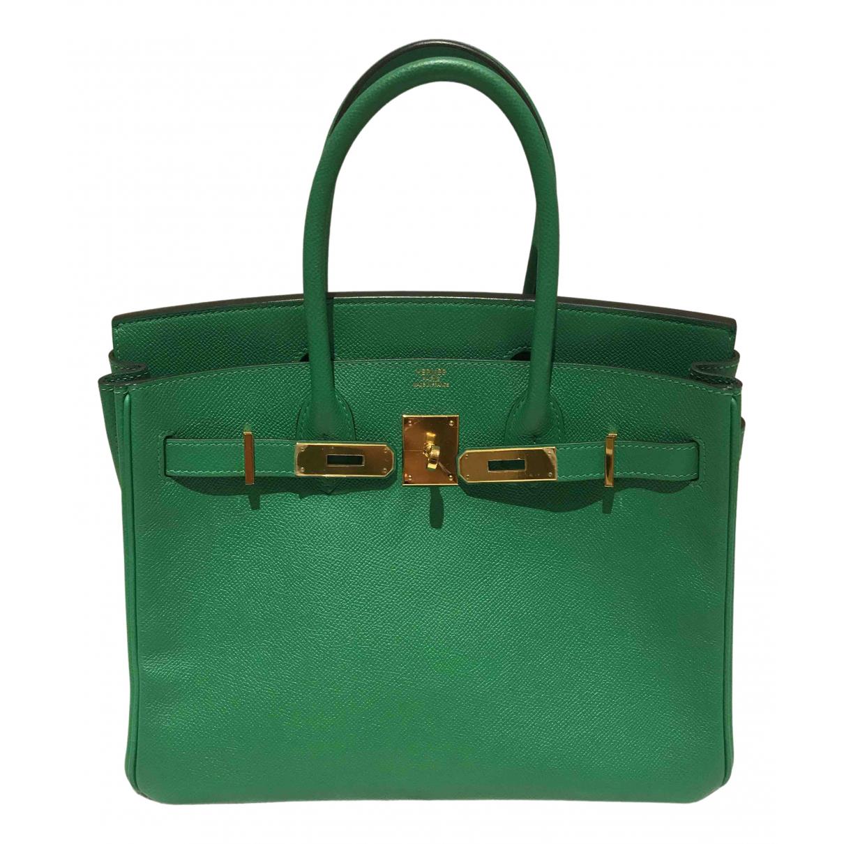 Hermes Birkin 30 Handtasche in  Gruen Leder