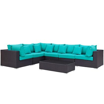 Convene Collection EEI-2168-EXP-TRQ-SET 7-Piece Outdoor Patio Sectional Set with 3 Corner Sections  3 Armless Sections and Coffee Table in