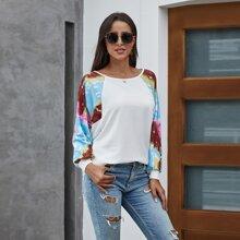 Pullover mit Kontrast Batik und Raglan Ärmeln