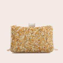 Rhinestone Decor Chain Clutch Bag
