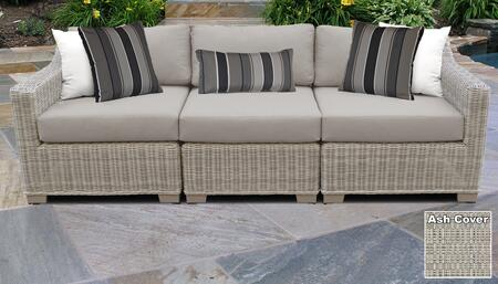 Coast Collection COAST-03c-ASH 3-Piece Patio Sofa with Left Arm Chair  Armless Chair and Right Arm Chair - Beige and Ash