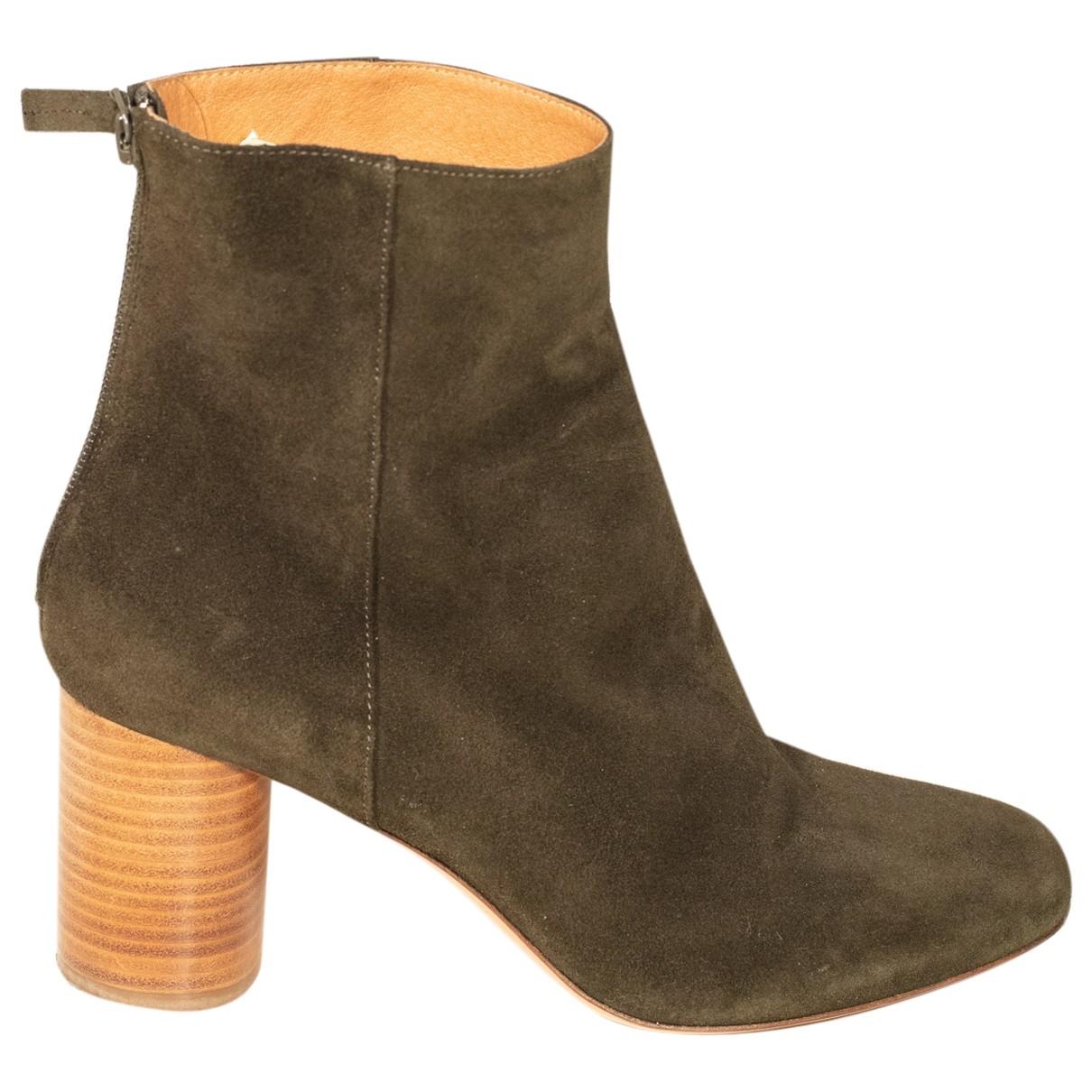 Sandro - Boots   pour femme en suede - kaki