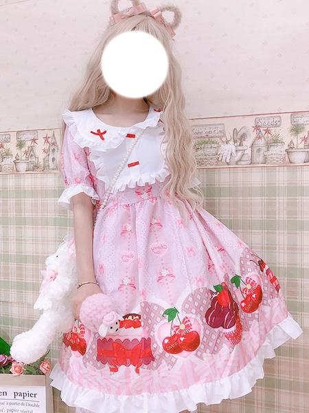 Milanoo Sweet Lolita OP Dress Printed Red Bows Ruffles Lolita One Piece Dresses