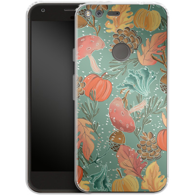Google Pixel XL Silikon Handyhuelle - Fall Woodland Green von Mukta Lata Barua