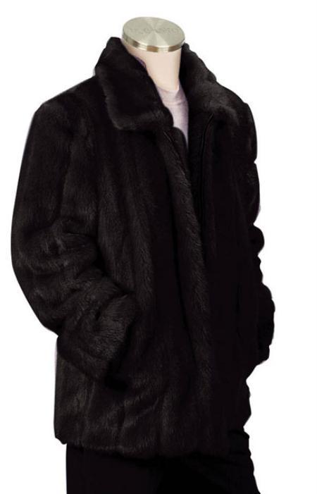Black Faux Fur Full Length Coat Mens