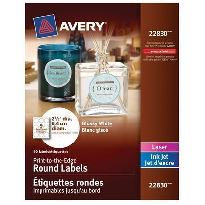 Avery@ blanc imprimable rondes glace Etiquettes pour imprimantes a jet d'encre et laser - 2-1 / 2