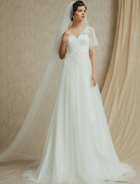Milanoo Vestido de novia de encaje con cuello en V de cola larga