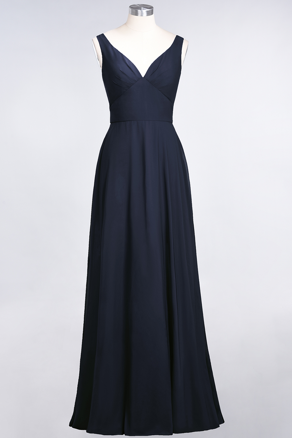 BMbridal Chic Chiffon V-Neck Straps Ruffle Affordable Bridesmaid Dresses with Open Back