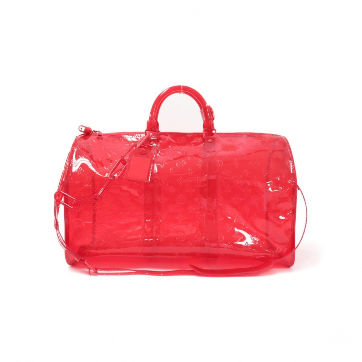 Louis Vuitton Keepall Reisetasche in  Rot Kunststoff