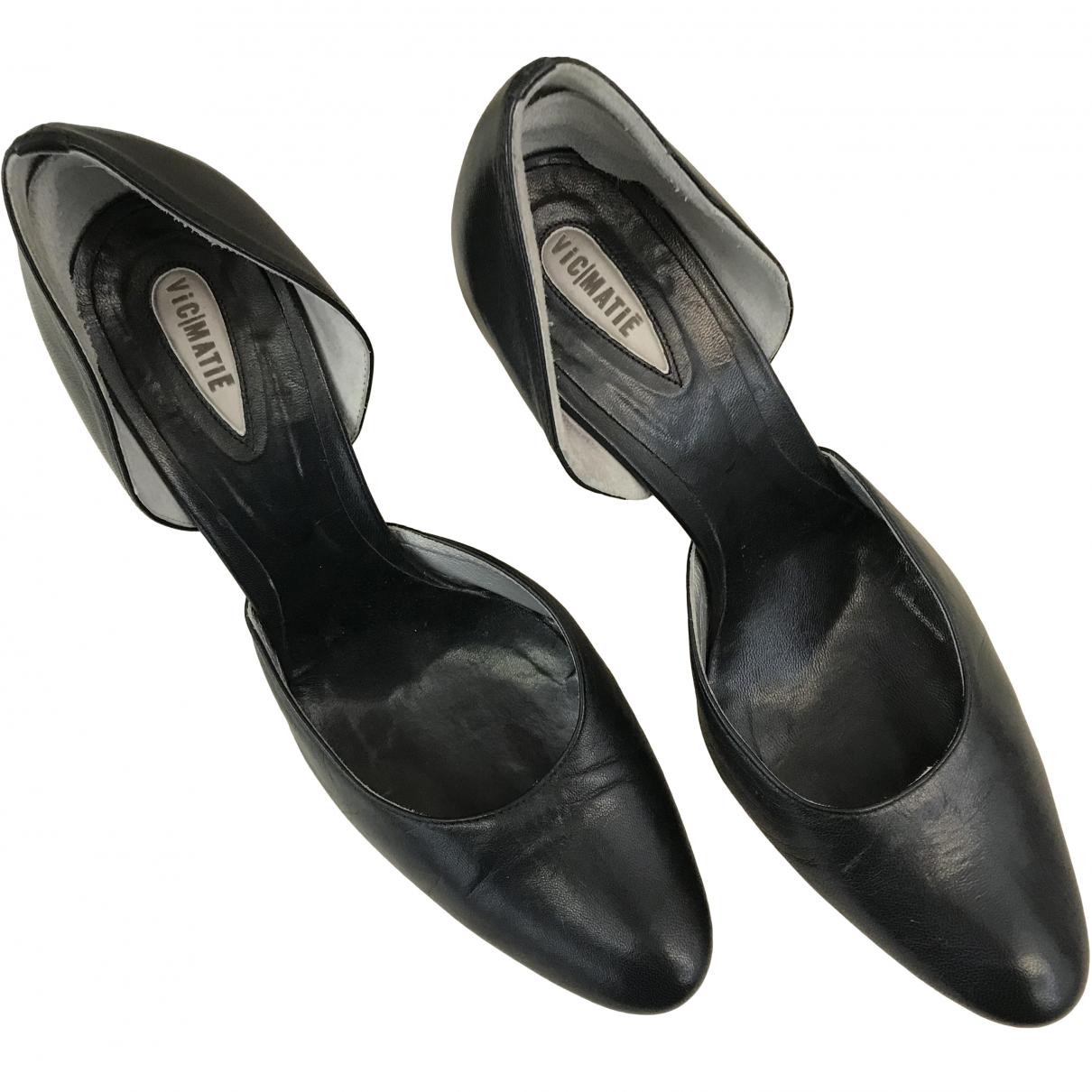 Vic Matié \N Black Leather Heels for Women 37 EU