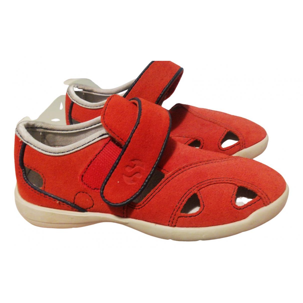 Superga - Chaussons   pour enfant en suede - rouge