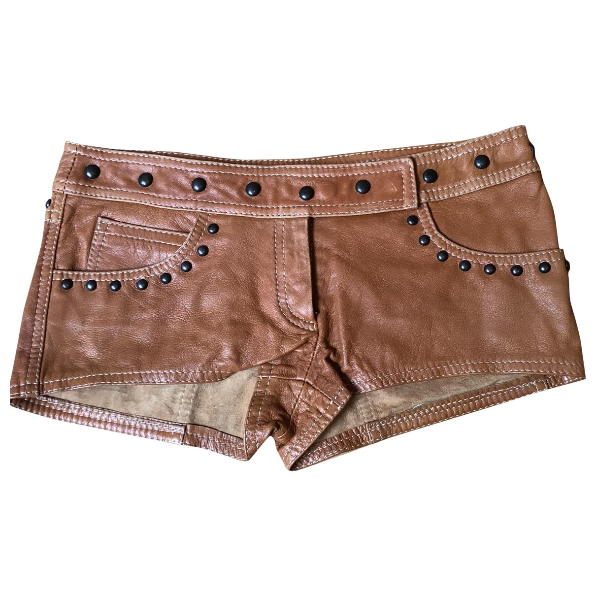 Patrizia Pepe \N Camel Leather Shorts for Women 44 IT