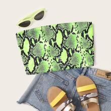 Neon Lime Snakeskin Print Tube Crop Top