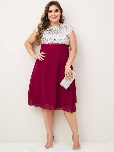 Yoins Plus Size Sequins Embellished Patchwork Round Neck Dress