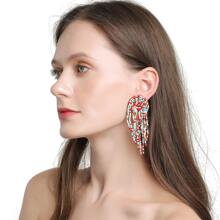 Ohrringe mit Perlen Quasten Dekor