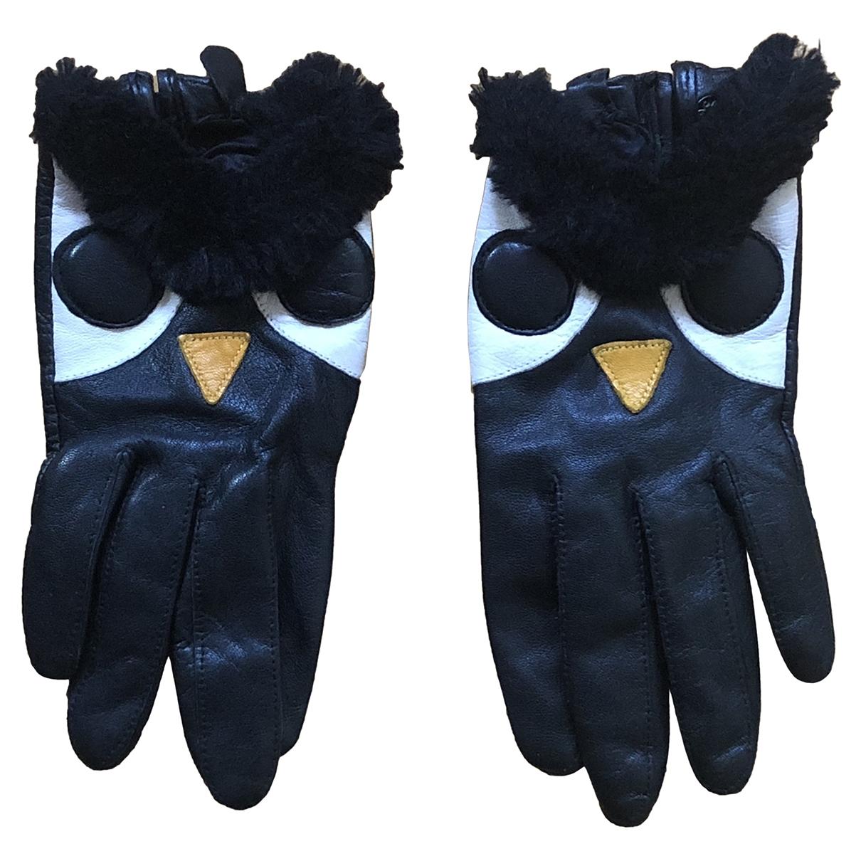 Uterque \N Black Leather Gloves for Women M International