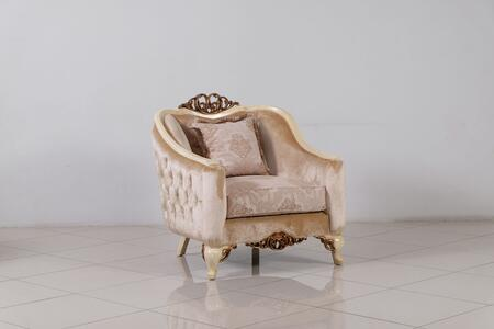 Angelica Collection Luxury Accent Chair  Hand Carved and Handcrafted  Pillows Included  Mahogany Wood Solid  in Beige and Antique Dark Gold