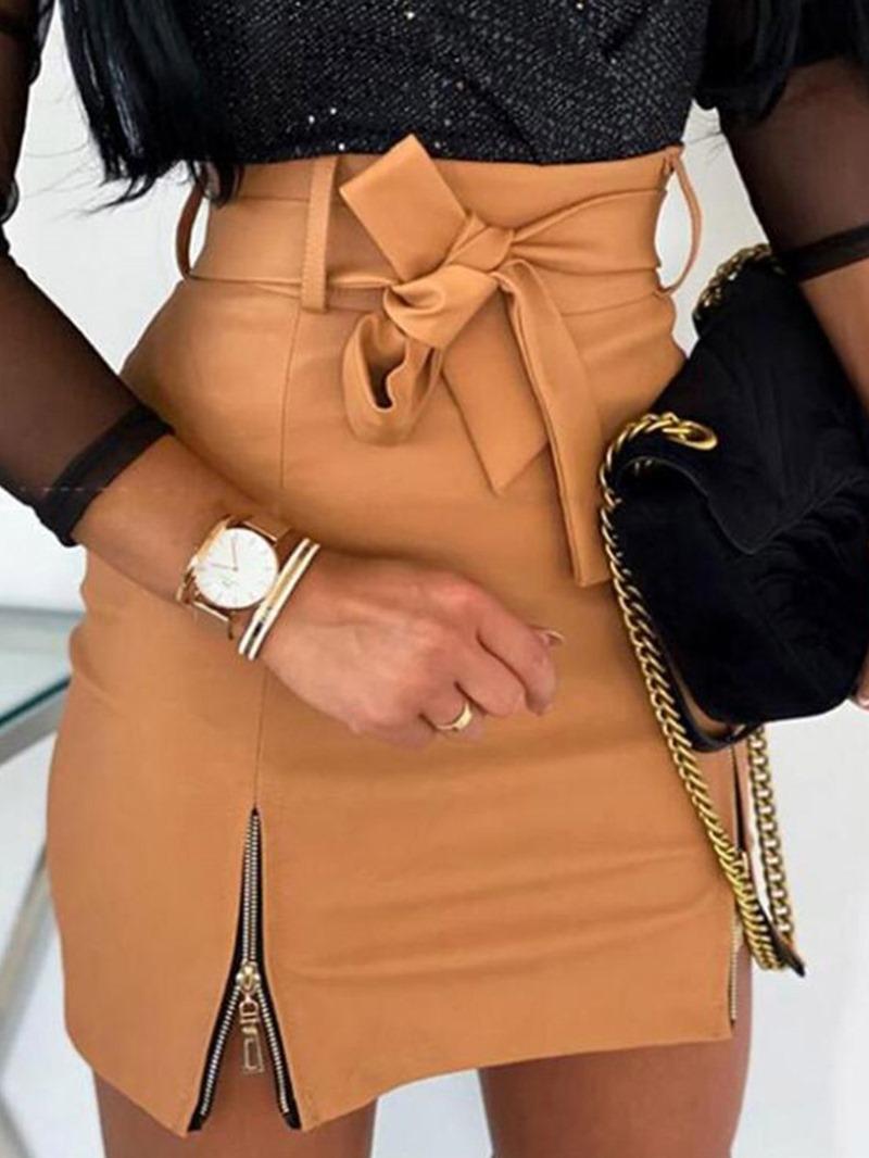 Ericdress Bodycon Mini Skirt Zipper Sexy Skirt
