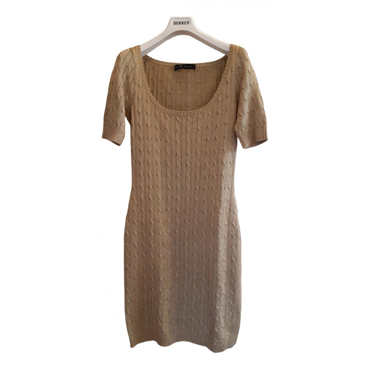 Ralph Lauren \N Kleid in  Gold Baumwolle - Elasthan